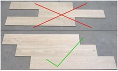 When installing wood grain tiles, stagger them like wood planks would be staggered. When installing wood grain tiles, stagger them like wood planks would be staggered. Wood Grain Tile, Wood Tile Floors, Wood Planks, Wood Look Tile Floor, Wood Look Tile Bathroom, Laying Tile Floor, Laying Hardwood Floors, Master Bathroom, Laminate Flooring On Walls