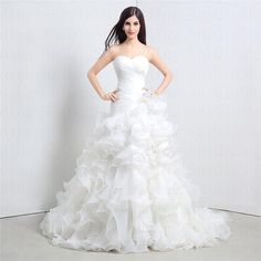 Glamorous White Ball Gown Wedding Dresses Sweet Heart Hand-made Flower Ruched Corset Tiers Ruffles Court Train Wedding Dresses Bridal Dress from Modern88bridal,$88.12 | DHgate.com