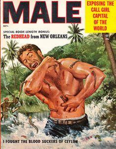 Male Magazine - October 1955 #Pulp #Art #Cover #Vintage #Adventures