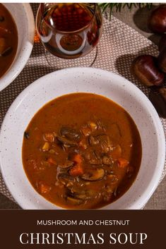 A simple recipe for mushroom and chestnut Christmas Soup flavoured with rosemary and sherry. Comfort food at its most satisfying. Christmas Soup, Vegan Christmas, Chestnut Recipes, Most Satisfying, Mushroom Recipes, Soup Recipes, Stuffed Mushrooms, Curry, Easy Meals
