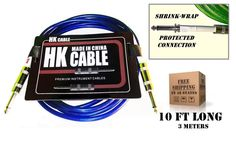 TX sellers  HK 10 ft  3meter BLUE  Electric Guitar amplifier patch cord cable  #HK