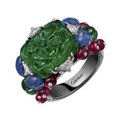 Bague Haute Joaillerie Bague Hyderabad - platine, une émeraude de Zambie octogonale gravée de 12,66 carats, saphirs et émeraudes gravés, boules rubis, onyx, diamants triangle, diamants taille brillant.