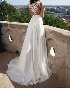 Spbridal Sheer Tulle Lace Appliques Long Chiffon Wedding Dress Beach at Amazon Women's Clothing store: