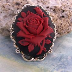 Cameo Brooch or Pendant Red Rose on Black on Etsy, $14.50