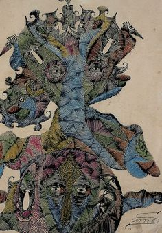 SCOTTIE WILSON (1888-1972) | Born Louis Freeman, was a Scottish outsider artist known particularly for his highly detailed style. Starting his artistic career at the age of 44, his work was admired and collected by the likes of Jean Dubuffet and Pablo Picasso and is generally accepted to be in the forefront of 20th century outsider art.