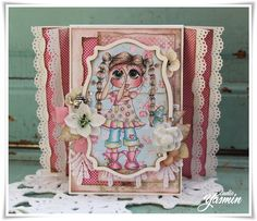 Studio Yasmin - Card made with the flying unicorn Small Art, Big Passion Kit - February. Sherri Baldy Papers.