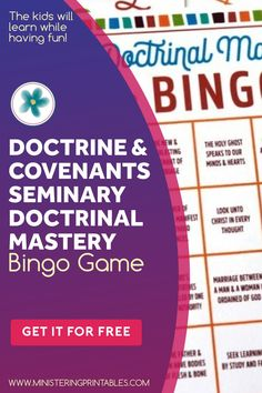 Use this Seminary Doctrinal Mastery Bingo game for learning and reviewing the Doctrine & Covenants doctrinal mastery scriptures. The kids will learn while having fun! Get it now. #BingoGame #lds #ldsministering #printablekit #ldsprintables #ministeringprintables #doctrinesandcovenants #printables2021 #ldsministeringprintables Lds Seminary, Relief Society Lessons, Lds Blogs, Primary Activities, Service Ideas, Doctrine And Covenants, Lds Primary, Bingo Games, Calling Cards