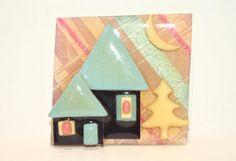 "Vintage+Lucinda+House+Pin+Brooch+Mauve+Blue+Yellow+Houses+Pine+Tree+Moon+2""+x+2""+"