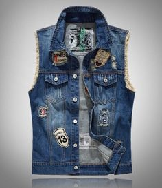 Cheap mens jean vest, Buy Quality denim vest directly from China sleeveless jacket Suppliers: Men's Jeans Vest Sleeveless Jackets Fashion Patch Designs Punk Rock Style Ripped Cowboy Frayed Denim Vest Tanks Multiple styles Denim Vest Men, Denim Waistcoat, Denim Jacket Patches, Jean Vest, Jeans Denim, Ripped Denim, Patch Jeans, Sleeveless Denim Jackets, Tracksuit Jacket