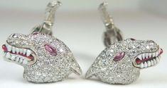 Antique Art Deco Vintage Tiffany & Co Men's Wolf Diamond Cuff Links Platinum  #TiffanyCo