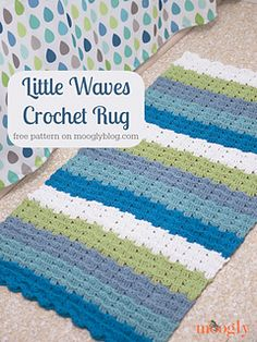 The Little Waves Crochet Rug features double thick V stitches and front post stitches to create little waves across the fabric. I used oceanic colors - blues, green, white - to create a rug to go with our raindrop shower curtain, but you can make this pattern in any colors you like. And I think it would look fantastic in any room of the house!