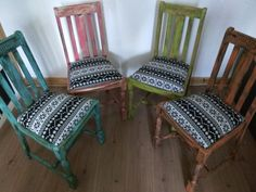 Vintage oak rustic boho dining chairs x 4. Mix & match distressed. Shabby chic