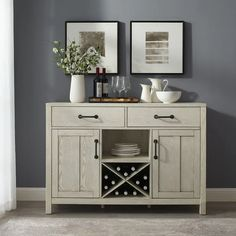 Roots Sideboard in Whitewash - Crosley simplicity meets rustic charm with the Roots Sideboard. A hand finishing technique provides a unique distressed look to the sideboard while the metal hardware adds an element of industrial chic. Sideboard Decor, Dining Room Sideboard, Dining Buffet, Dining Room Bar, Buffet Table Ideas Decor Dining Rooms, Buffet Server, Sideboard With Wine Rack, Kitchen Buffet Cabinet, Wine Hutch