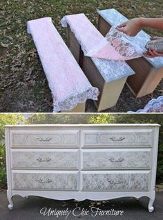 Using lace as a stencil to make over old furniture... What a great idea