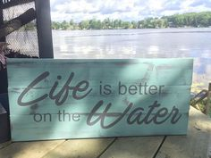 Hand crafted and hand painted wooden sign.  Life is better by the Lake  25Lx11.25Hx1.5D OR 20Lx9Hx1.5D  Cottage or Home Decor.  Send me detailed message in the comments at check out to change colour of font or background.  Old Wood Charm is all about rustic home decor! Check out our other listings as well