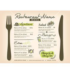 Restaurant placemat menu design template layout vector - by kraphix on VectorStock®
