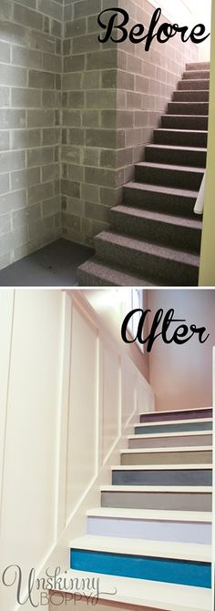 Before and After of Basement stairs painted with multicolored paint