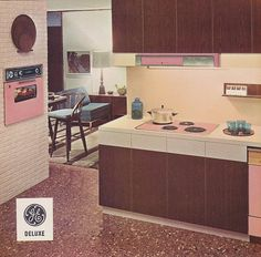Mid-century modern pink GE kitchen. Imagine how great it would be to bake cupcakes in this kitchen, everything of course PINK!