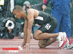 Ashton Eaton , Decathlete . In the rain at the start of the 400 meters in #eugene2012 #usolympictrials #usatf #london2012
