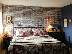 faux brick panels bedroom design ideas accent wall metal bed frame