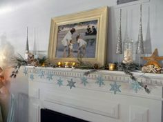 beachy / shimmery christmas mantle