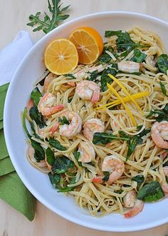 Linguine with Shrimp and Lemon Oil. Always a hit and comes together quickly. Perfect for weeknight cooking. (Original recipe from Giada DeLaurentiis)