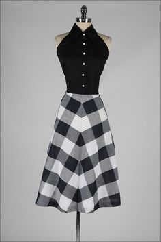 r e s e r v e d /// vintage 1950s dress . black plaid cotton