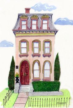 Custom Illustration House Portrait by PicketFencePortraits on Etsy