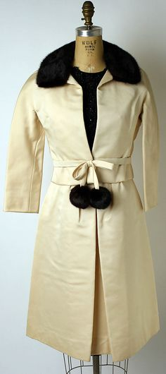 """Polchinelle"" Ensemble, House of Dior, Designer Marc Bohan, F/W 1962-63, French, silk, fur, jet and leather"