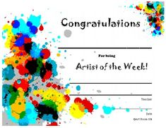 Art shop art award printable free to download and just fill in the smartteacher resource artist of the week yadclub Choice Image