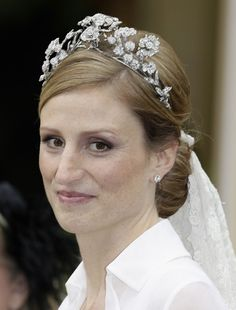 Isenburg Floral tiara worn by HSH Princess Sophie when she married HI Prince Georg Friedrich of Prussia in August 2011.