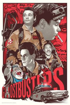 """""""They're Here to Save the World"""" (Ghostbusters). Officially licensed, (regular edition), screenprint for Ghostbusters Anniversary Art Show. 80s Movie Posters, Cinema Posters, Movie Poster Art, Poster Drawing, Vintage Movie Posters, Fan Poster, Classic Movie Posters, Print Poster, Love Movie"""