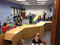 This idea could totally be adapted for middle school. The Show Me Librarian: Preschool/Toddler Obstacle Course