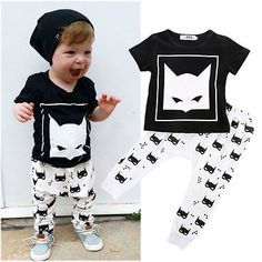 Newborn Infant Kids Baby Boys Batman T-shirt +Pants Outfits Clothes Set 0-24M