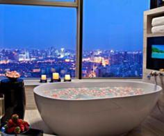 Spa, velas, baño de tina, perfecto