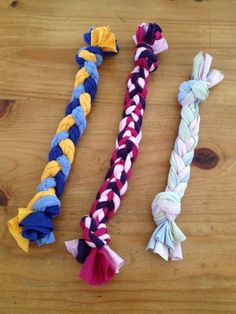Homemade Dog Toy made from old t-shirts or knit material, braided and knotted.