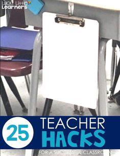 25 Teacher Hacks for a Successful Classroom - Lucky Little Learners Classroom Desk, Classroom Hacks, 3rd Grade Classroom, Classroom Organisation, Teacher Organization, Kindergarten Classroom, School Classroom, Classroom Management, Behavior Management