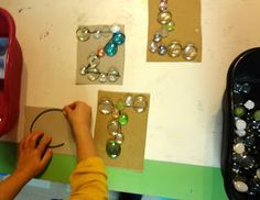 glass stones for fine motor, letter recognition and math