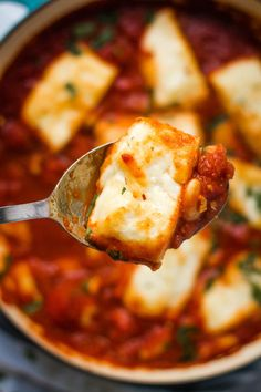 Halloumi and white beans baked in a rich, smoky, Spanish inspired tomato sauce! A simple but stunning one pot vegetarian meal, on the table in 30 minutes. One Pot Vegetarian, Vegetarian Recipes Dinner, Veg Recipes, Slow Cooker Recipes, Cooking Recipes, Recipies, Whole Foods Market, Baked Halloumi, Diet Doctor Recipes