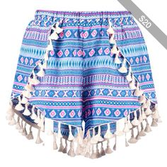 Boohoo Lisa Tassel Trim Woven Aztec Runner Shorts