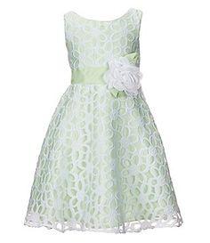 Sweet Heart Rose Little Girls 2T-6X  Sleeveless A-line Flower Burnout Dress