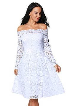 Eastylish Elegant Women's Sexy Off Shoulder Lace Casual Cocktail Wedding Party Dress at Amazon Women's Clothing store: