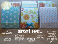 easy matchbook notebooks - great for keeping in your car, bag, by the phone, etc.   www.livecrafteat.com