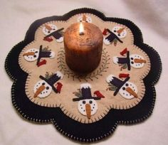 Winter Friends Candle Mat/Penny Rug Pattern with Wool Kit