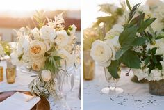 "olive/white centerpieces ""On the tables I used a mix of stone, and iron, garden containers and filled them with annabelle hydranga, Patience and Caramel Antique garden roses, bay and olive leaves, sweet peas, and dahlias. A soft green linen was draped over the tables and La Tavola's cut lace linen layered over. A mix of gold and silver mercury glass candle holders added a hint of metallic glow."""