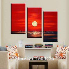 pintado a mano puesta de sol mar paisaje leo de la lona pintura abstracta moderna de