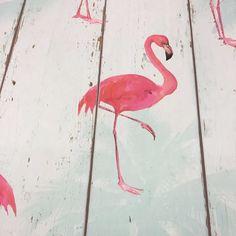 Eis que esse papel de parede é assim: aquarelas de flamingo sobre madeira - não  demais o efeito? @castump me apresentou e tô in leve.  É #papeldeparedebucalo e quero forrar a casa.  #colaadora #colaindica