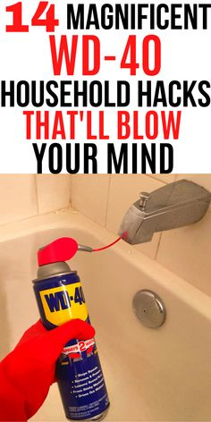 Here are 14 magnificent WD-40 household hacks that'll blow your mind.#WD-40 hacks #cleaning hacks Diy Home Cleaning, Bathroom Cleaning Hacks, Homemade Cleaning Products, Household Cleaning Tips, Deep Cleaning Tips, Cleaning Recipes, House Cleaning Tips, Natural Cleaning Products, Cleaning Solutions