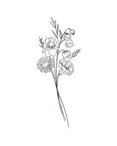 Diskrete Tattoos, Line Tattoos, Small Tattoos, Tatoos, Flower Bouquet Drawing, Flower Boquet, Simple Flower Tattoo, Flower Tattoo Designs, Flower Outline Tattoo