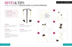 Instructions on how to create a pair of Twisted Wire Cluster Earrings - Free tutorial.